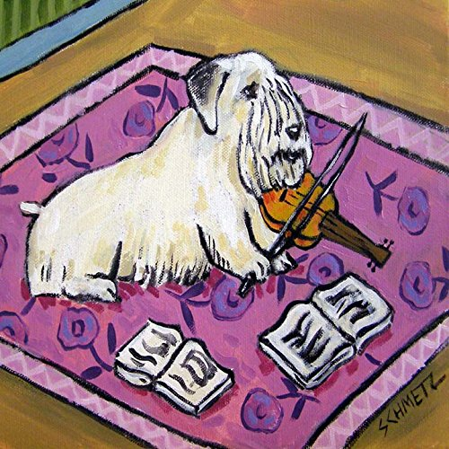 Sealyham Terrier playing the Violin Music Room Decor dog art tile coaster gift