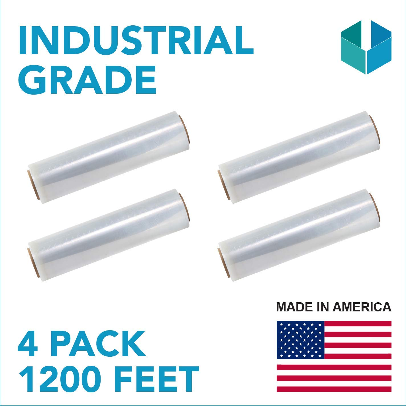 18''x 1200 FT Roll - 80 Gauge Thick 28 Lbs per Case, Stretch wrap Moving & Packing Wrap. Industrial Strength, Plastic Pallet Shrink Film Ideal For Furniture, Boxes, Pallets... (CLEAR) (4 PACK)