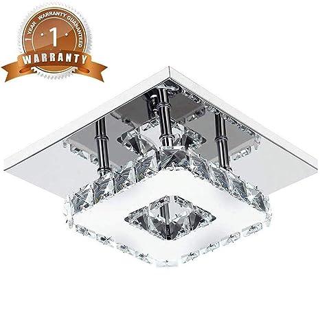 Luces de techo LED modernas de cristal 12W 6000K fría blanca mini araña iluminación para dormitorio, sala de estar y pasillo