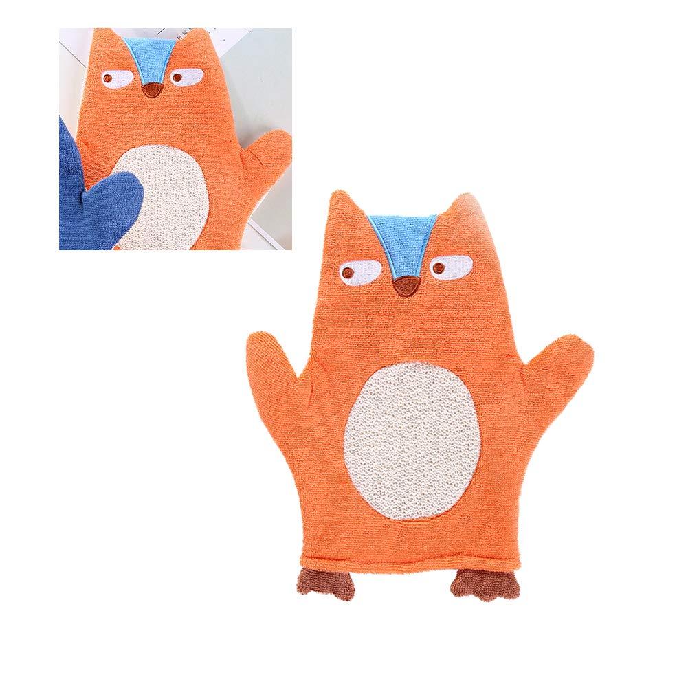 Baby Bath Glove Soft Plush Bath Towel Wash Mitt for Baby Toddler Animal Shape Cartoon Orange Fox