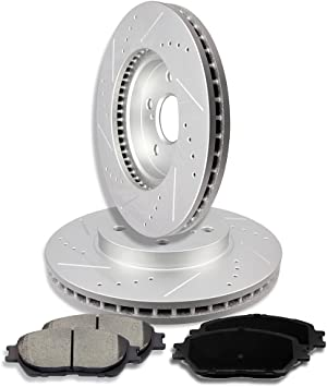 Camry Front Rear Drill Slot Brake Rotors+Ceramic Brake Pads Fits Toyota Solara