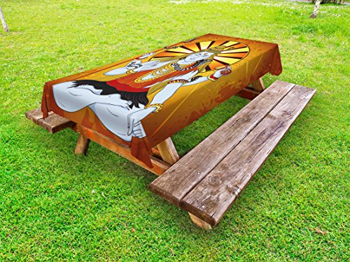 Ambesonne Spiritual Outdoor Tablecloth, Religious Figure on Grunge Backdrop Idol Meditation Bohemian Print, Decorative Washable Picnic Table Cloth, 58 X 84 inches, Amber Orange Pale Blue by Ambesonne