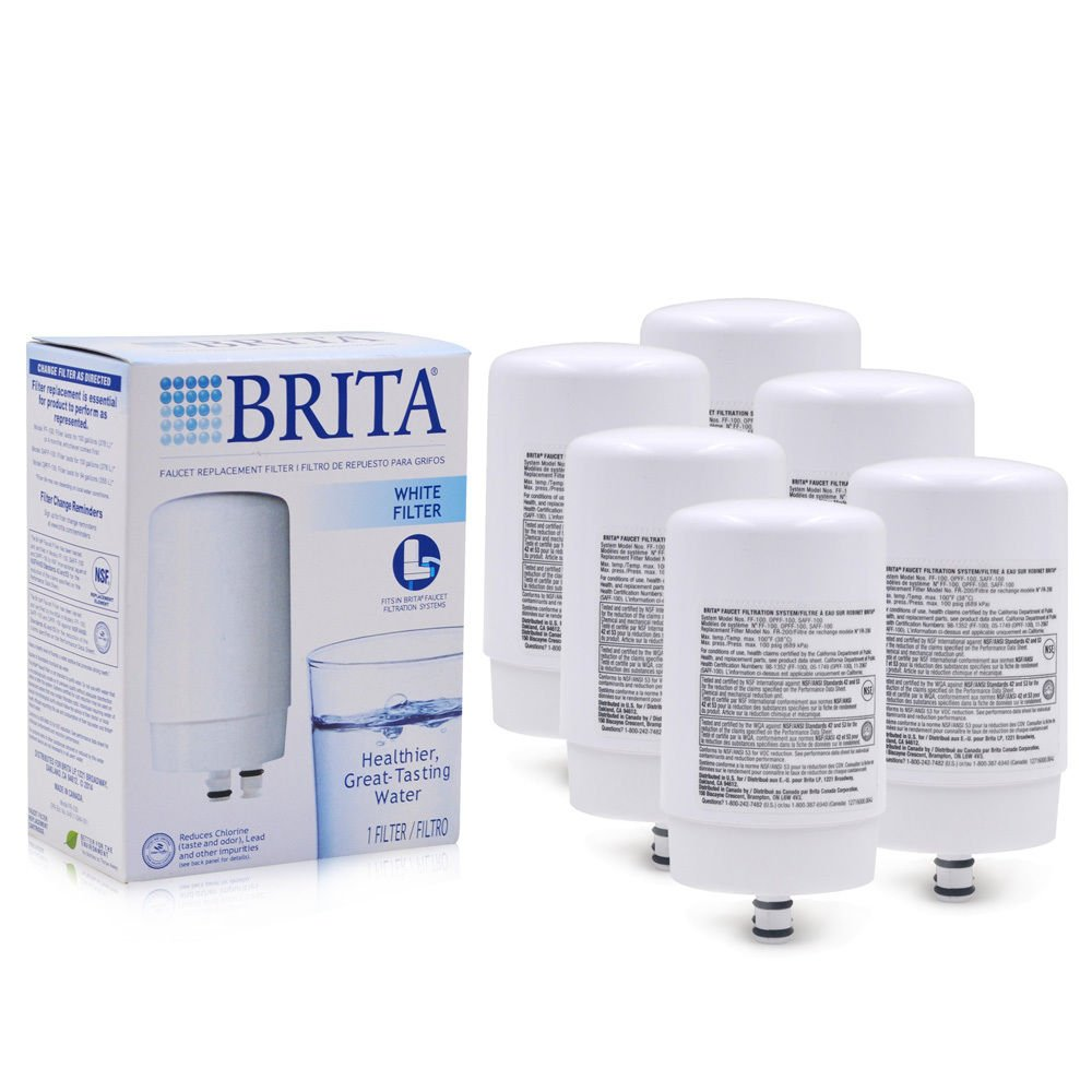 Brita蛇口水フィルターシステムff100交換フィルターホワイト、6カウント B079KF67MV