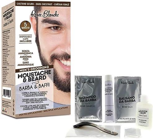 Renee Blanche Coloración para barba y bigote, color castaño oscuro, 2 x 20 ml