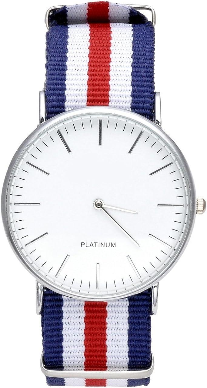 Relojes JSDDE, ginebra para hombre de pulsera para mujer de nylon correa de tela correa analógico cronógrafo reloj de arranque Quarzhr (doble rojo-blanco-azul)