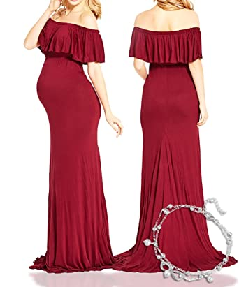 New Cheap Price Red Ruffle Off Shoulder Sexy Fitted Long Maternity Dress  Maxi Gown Skirts for 5e9fa2f55