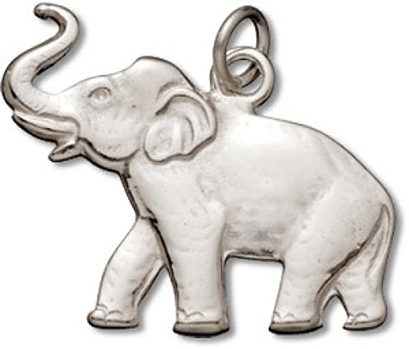 Sterling Silver Girls .8mm Box Chain Walking Elephant Pendant Necklace