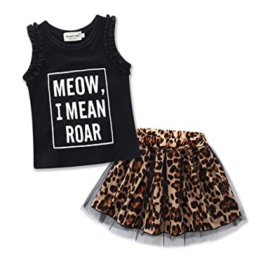 e4a9dba891 FANCYKIDS Girls Toddler Children s Shirt Top Cute Leopard Animal Print Skirt  Outfit Set - Multi -