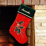 "GiftsForYouNow Holly Leaves and Berries Personalized Christmas Stocking, 18.5"", Embroidered"