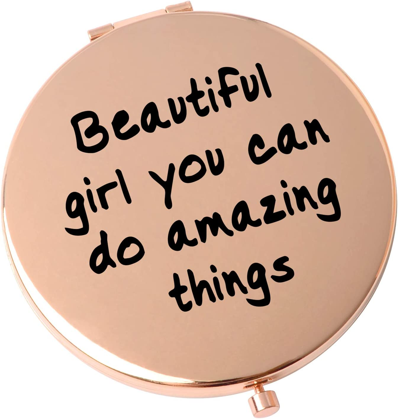 Girls Best Gift Pocket Metal Mirror Compact Travel Mirrors Sister Friend Gifts Beautiful Girl You can do Amazing Things.Travel Magnifying Mirror-Rose Gold