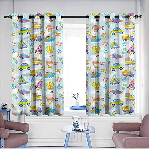 Mdxizc Decorative Curtains for Living Room Kids Transportation Vehicles Printing Insulation W63 xL72 Suitable for Bedroom,Living,Room,Study, etc. ()