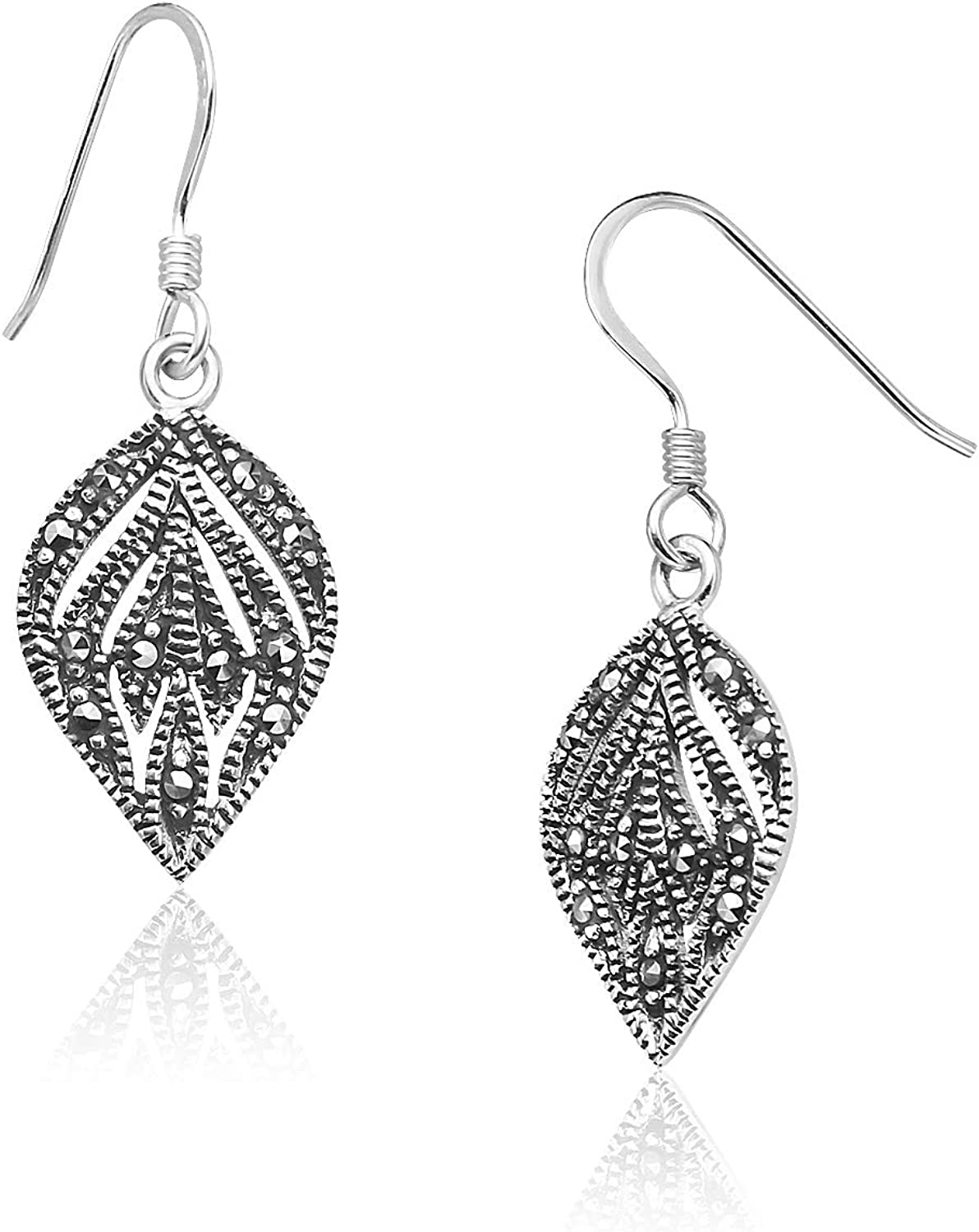 Big Apple Hoops - Marcasite Classic Leaf Dangle Earrings Made from Genuine Solid 925 Sterling Silver Lightweight and Unique Design