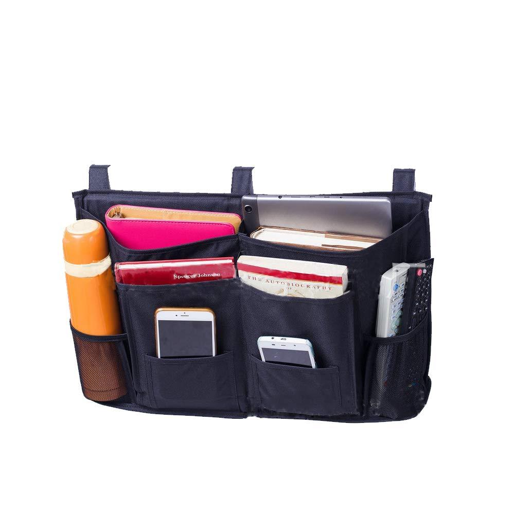 Versatile Underbed Bedside Storage Organizer Caddy Heavy Duty 8 Pockets Hanging Storage Bag Holder Bed Pouch for Bunk Beds, Bed Rails, Dorm Rooms, Apartments Bathrooms (Black) Hersent