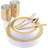 "175 PCS Gold Disposable Silverware, Lace Design Plastic Plates with Gold Cups, Includes: 25 Dinner Plates 10.25"", 25…"