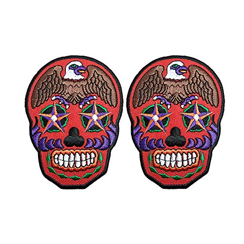 [R2K 2Pcs. Skull Ghost Day Of The Death Love Never Die Rockabilly Lady Rider Hippie Punk Tatoo Jacket T-shirt Patch Sew Iron on Embroidered Sign Badge Costume] (Abc Costume Ideas For Girls)