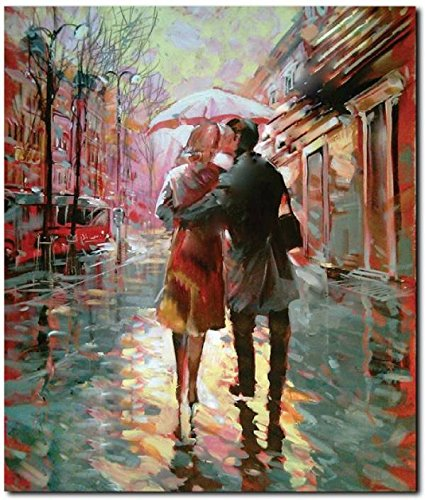 StyBuzz Couple Walking In Rain Painting Frameless Canvas Art - (22x18 inch,  Multicolor) (Pack Of 1): Amazon.in: Home & Kitchen