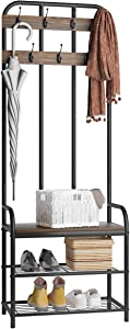 3-in-1 Entryway Coat Rack, LANGRIA Vintage Metal and Wood Hall Tree with Storage Bench Shoe Rack Entryway Storage Shelf Organizer for Home Bedroom Office Clothes Hats