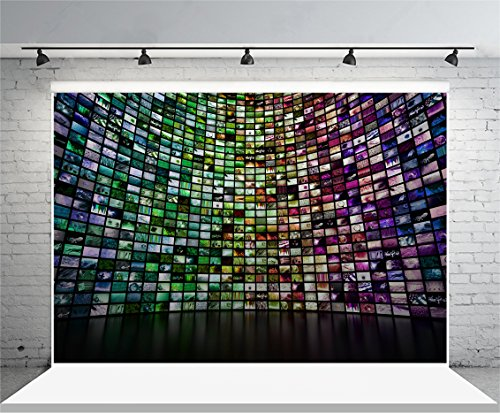 Laeacco 10x6.5ft Vinyl Backdrop Photography Background Abstract Giant Multimedia Video and Image Wall Colorful Mosaic Seamless Texture Grunge Background Show Party Interview Video Record Shooting by Laeacco