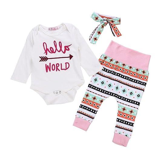 WARMSHOP Hello World Girls Outfit Clothes Arrow Print 100% Cotton Romper  Jumpsuit Tops+Geometry 7a7c6336e