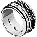 Clio Blue Anneau fil plat mobile New Rings en argent 925, 10.4g, T60