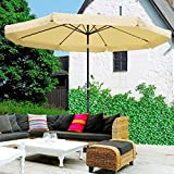10ft Aluminum Outdoor Patio Umbrella Yard Garden Market w/Valance Crank Tilt Tan ..#from-by#_apluschoice~hee92141278298490