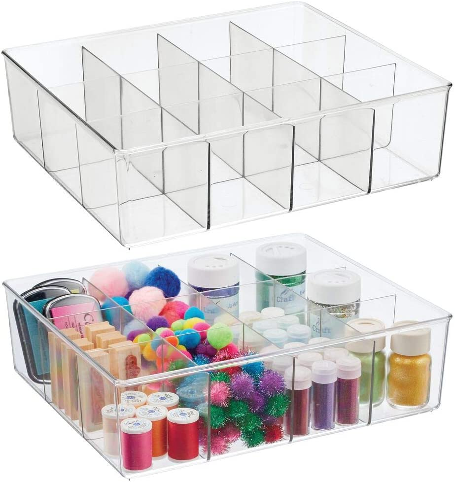 mDesign Plastic 12 Compartment Divided Drawer Craft & Sewing Storage Organizer - Holder for Holds Paint, Colored Pencils, Glitter, Stickers, Glue, Yarn - 2 Pack - Clear