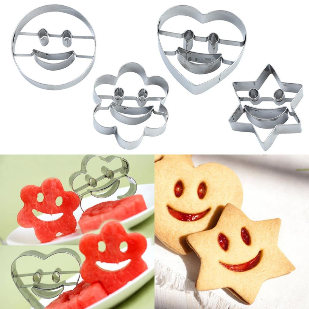 Molyveva 4Pcs/Set Smiling Face Cookies Cutter Pastry Biscuit Cake Decorating Mold Tools, 7*3.5*2CM Old Tree Store
