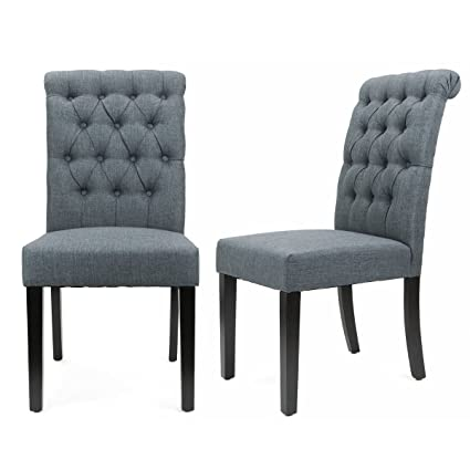 Amazon XtremepowerUS Padded Fabric Dining Chair Set Of 40 Gray Adorable Patterned Dining Chairs