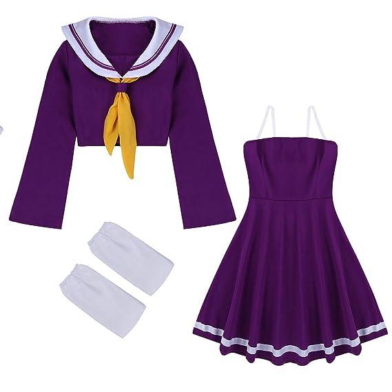 Freebily 4Pcs Disfraz Fiesta de Anime Mujer Vestido Conjunto ...