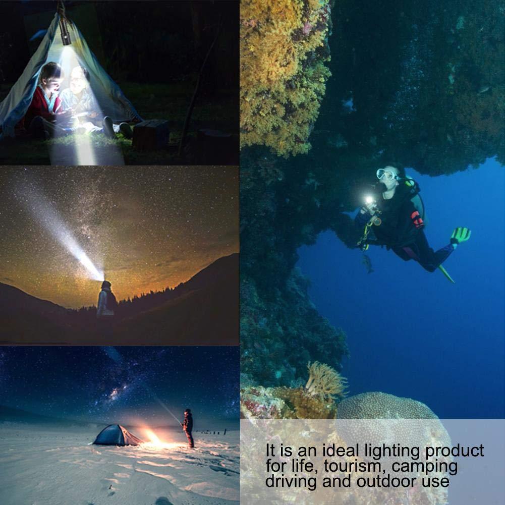 Riuty Lampe Torche de plong/ée LED avec Reflets sous leau 100 m Aluminium Ext/érieur 1200 LM LED Plong/ée Super Lumineuse /Étanche SOS Lampe de Poche /électrique sans Pile