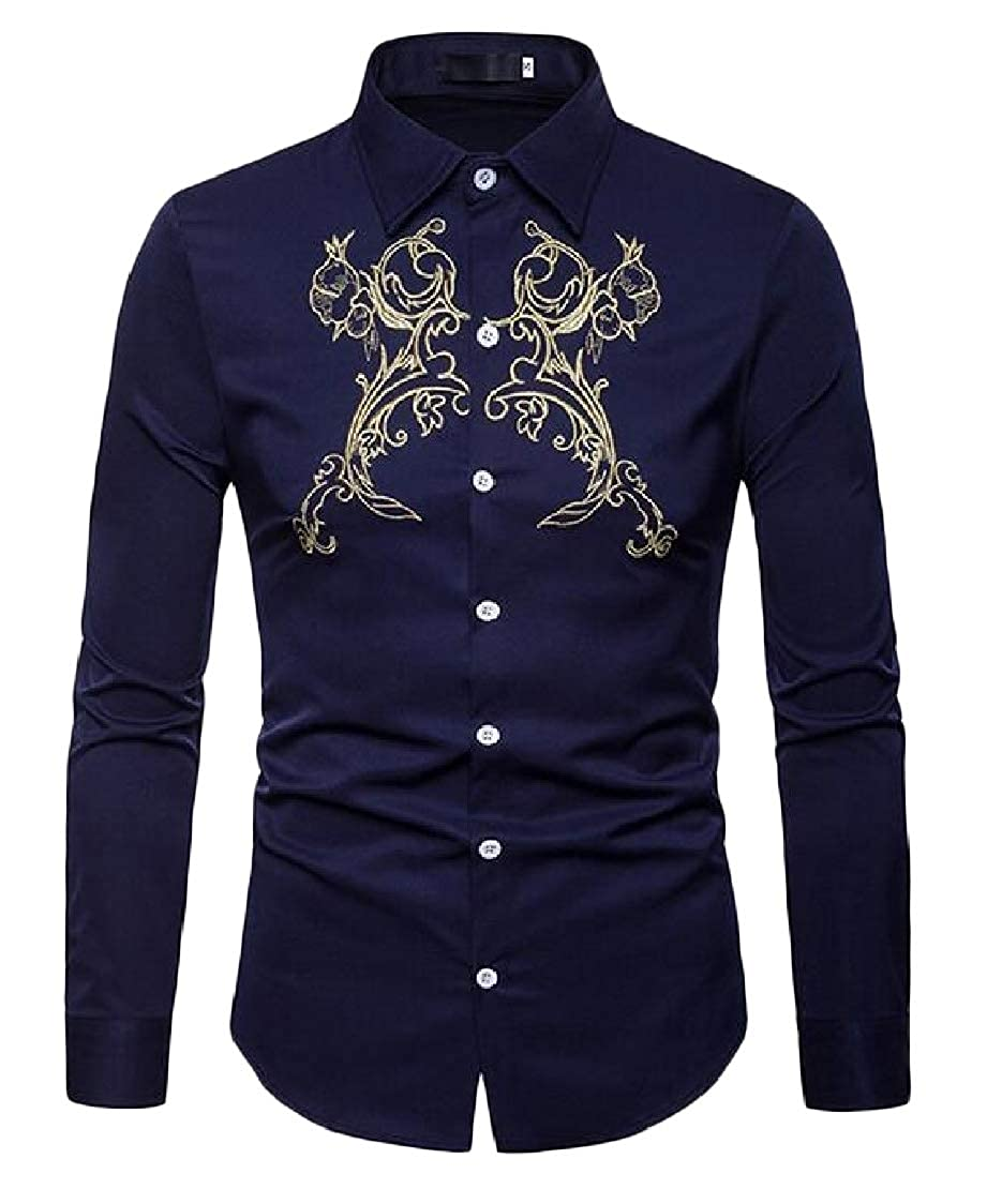 Pandapang Mens Slim Fit Embroidery Button Front Long Sleeve Casual Shirts
