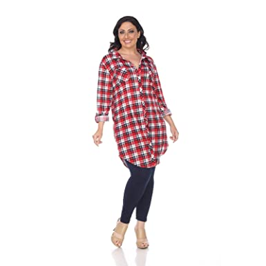 d2c7c7f89e4 Image Unavailable. Image not available for. Color  White Mark Women s Plus  Size Piper Plaid Tunic Red blue 1X