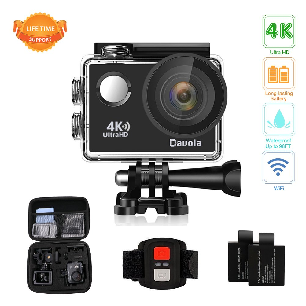 Action Camera, Waterproof Camera 4K Ultra HD WiFi Sports Cam, 16MP - Davola Underwater Camera for Snorkeling Diving Surfing and Outdoor Sports