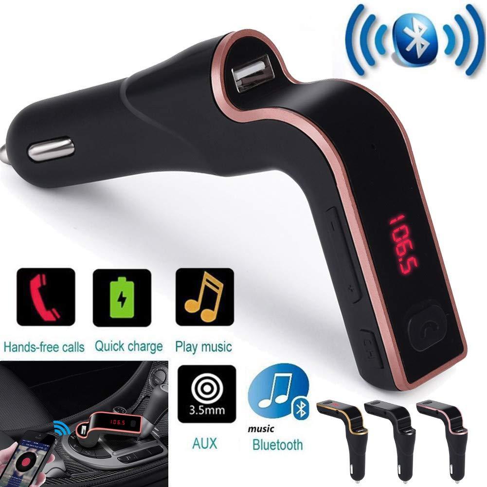 Chargeur de Voiture,Rameng Bluetooth sans Fil Transmetteur FM Mains Libres Kit Voiture MP3 Lecteur de Musique Gold