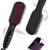 Ionic Hair Straightener Brush, FBFL Hair & Beard Straightening Brush 30s Fast MCH Ceramic Heating with Anti Scald Feature, Au