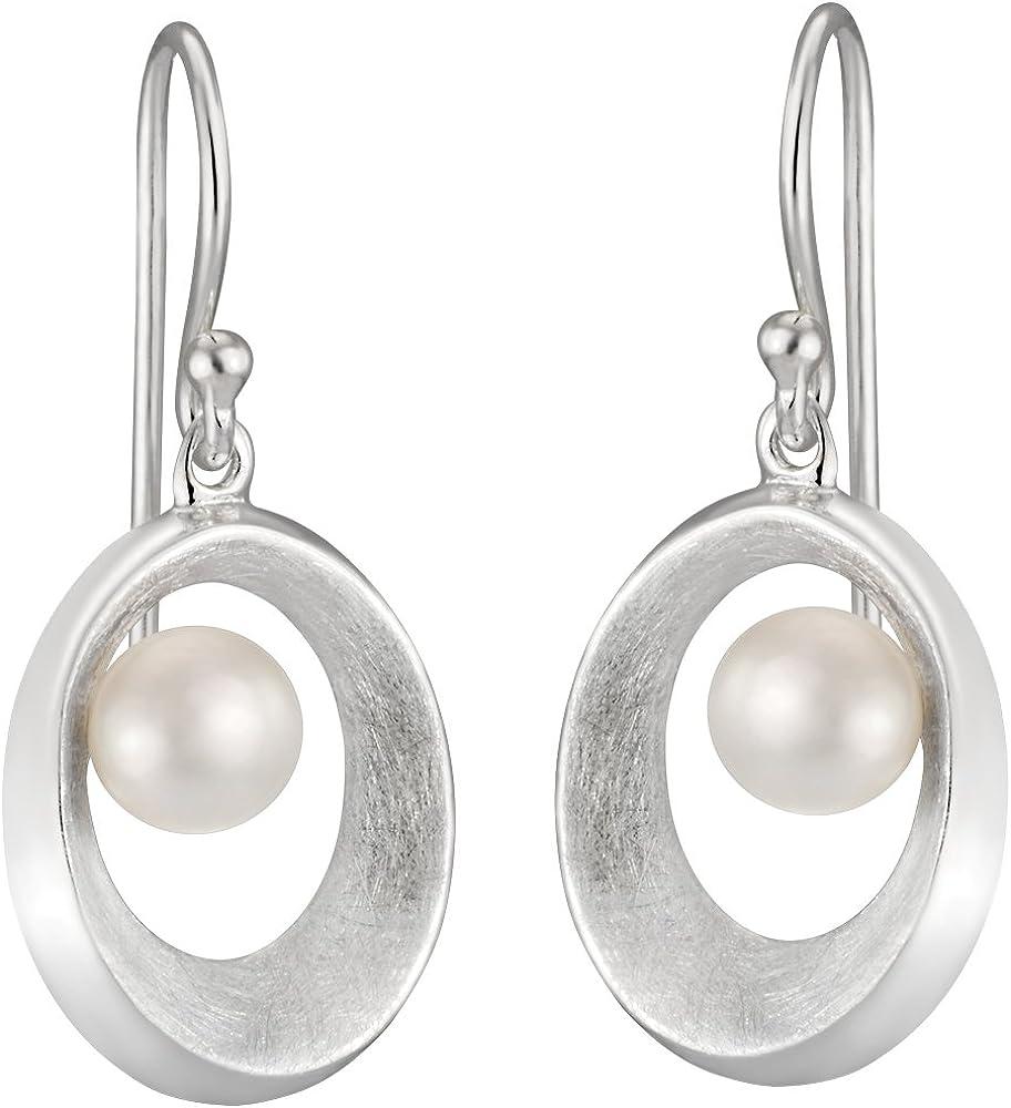 Vinani OAGP - Pendientes con cierre de gancho, oval abierto, cepillado, con Perla cultivada de agua dulce, Plata de Ley 925