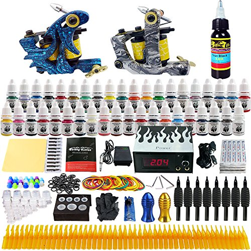 Solong Tattoo® Kit de Tatouage Complète 2 Machine à Tatouer Professionnelle 40 Encres Power Supply Aiguille de Tatouage Tattoo Kit Set TK223