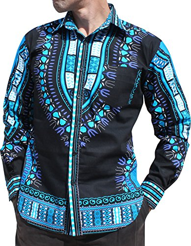 RaanPahMuang Brand Africa Dashiki BouBou Bright Fashion Work Shirt Light Cotton, Large, Black on (Mardigras Outfits)