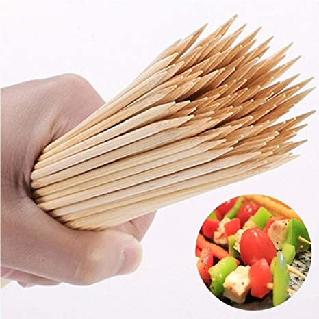 Home REPUBLIC-100pcs / 10 INCH lot Bamboo Skewer Natural Wood Meat Potato Barbecue Skewers Picnic BBQ Accessories Kitchen Tools Camping
