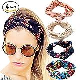DRESHOW 4 Pack 1950's Vintage Flower Headbands for Women Twist Elastic Turban Headband Head Wraps Cute Hair Band Accessories