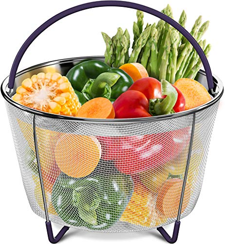 (PerfeCome - Instant Pot Steamer Basket 6 Quart - Stainless Steel Steamer Basket with Silicone Handle and Non-Slip Legs for 6 and 8 qt Preasure Cooker - Vegetable and Egg Mesh Basket Accessories)
