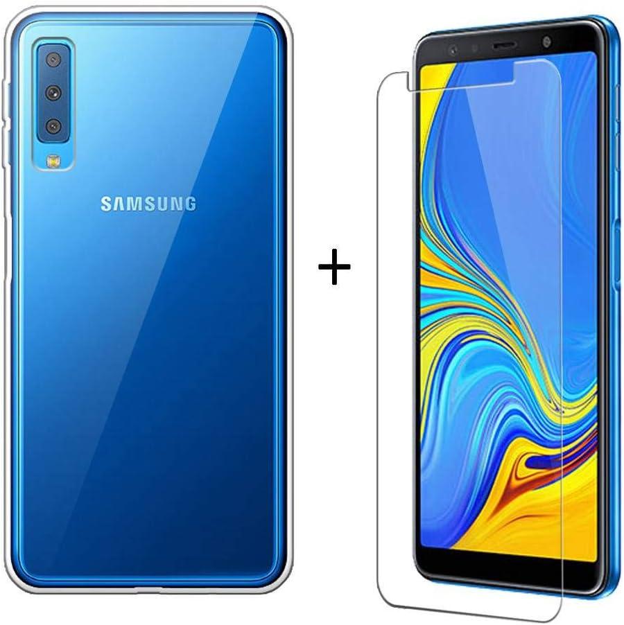 LJSM Samsung Galaxy A7 2018 Funda Transparente + Protector de ...