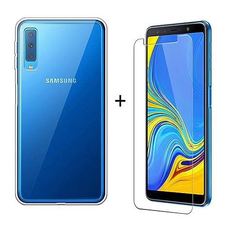 LJSM pour Samsung Galaxy A7 2018 Transparent Coque + Film Protecteur Verre  trempé écran Protecteur HD e53006e341ad