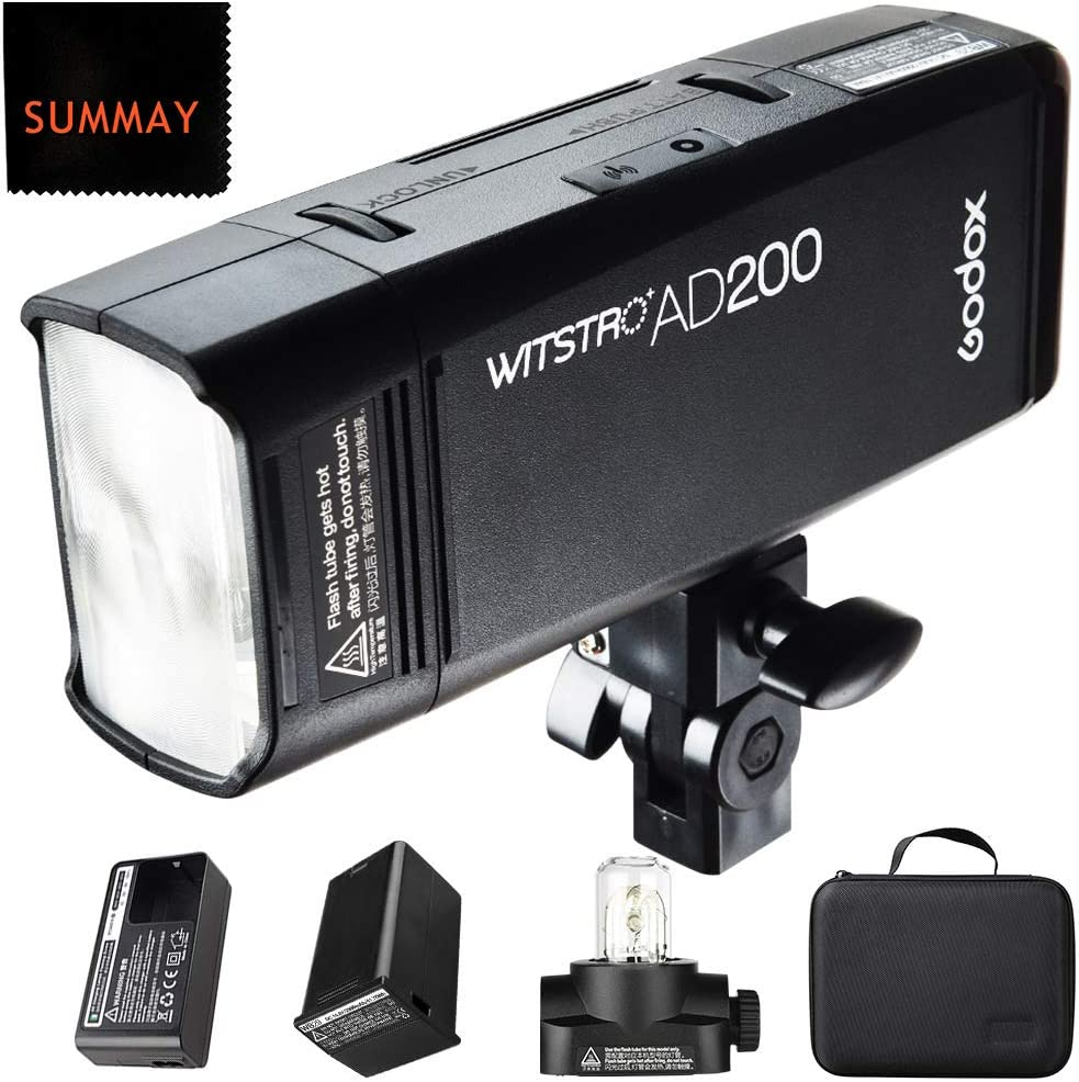 200Ws 2.4G Flash Strobe 0.01-1.8s Recycling 2900mAh Battery GODOX AD200 Pro with Godox Xpro-C Trigger for Canon 500 Full Power Flashes Bare Bulb//Speedlite Fresnel Flash Head 1//8000 HSS