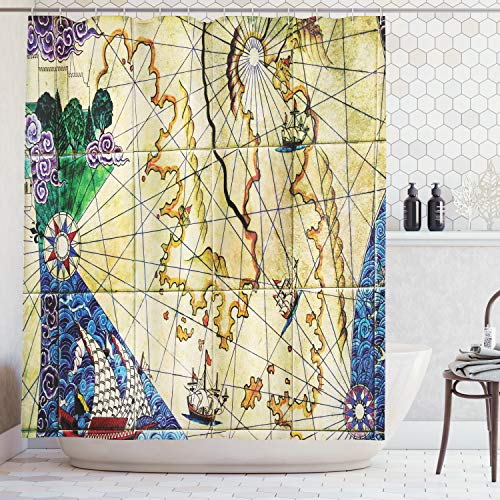 Ambesonne Compass Decor Collection, Faded Antique Map of Treasure Showing Island with Coast and Compass Star Illustration, Polyester Fabric Bathroom Shower Curtain Set with Hooks, Beige Navy (Map Curtain Treasure Shower)