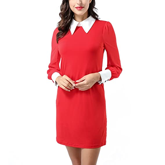 Avtosrno Women Peter Pan Collar Long Sleeve Party Work Pencil Casual T Shirt Dress by Avtosrno