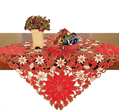 (Simhomsen Small Christmas Holiday Embroidered Poinsettia Tablecloth Square 33 × 33 Inch, Toppers, Tablecovers for End Table, Tea Table, Coffee Table and Nightstand)