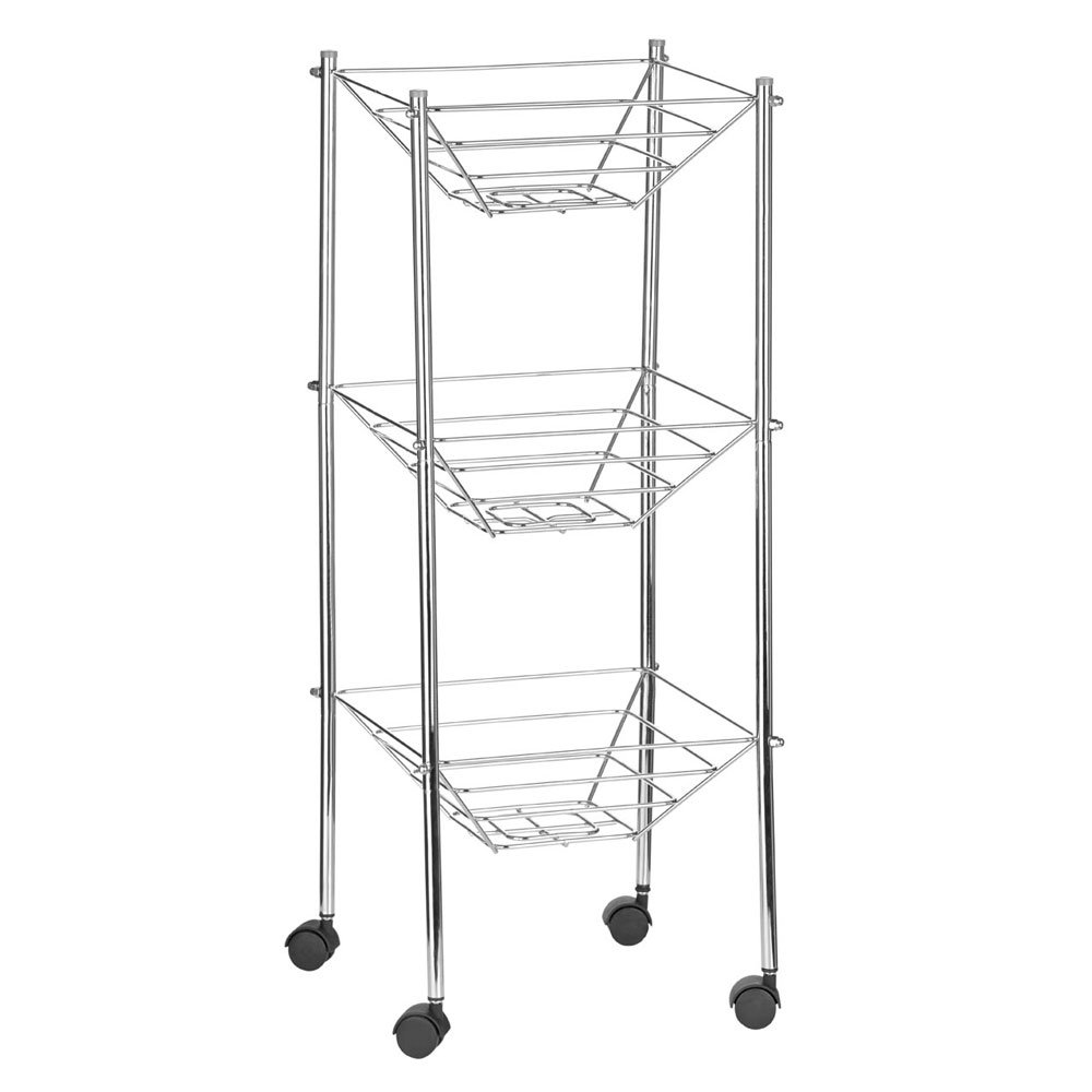 3 TIER CHROME FRUIT VEGETABLE RACK W/WHEELS STORAGE STAND CART TROLLEY  KITCHEN: Amazon.co.uk: Kitchen U0026 Home