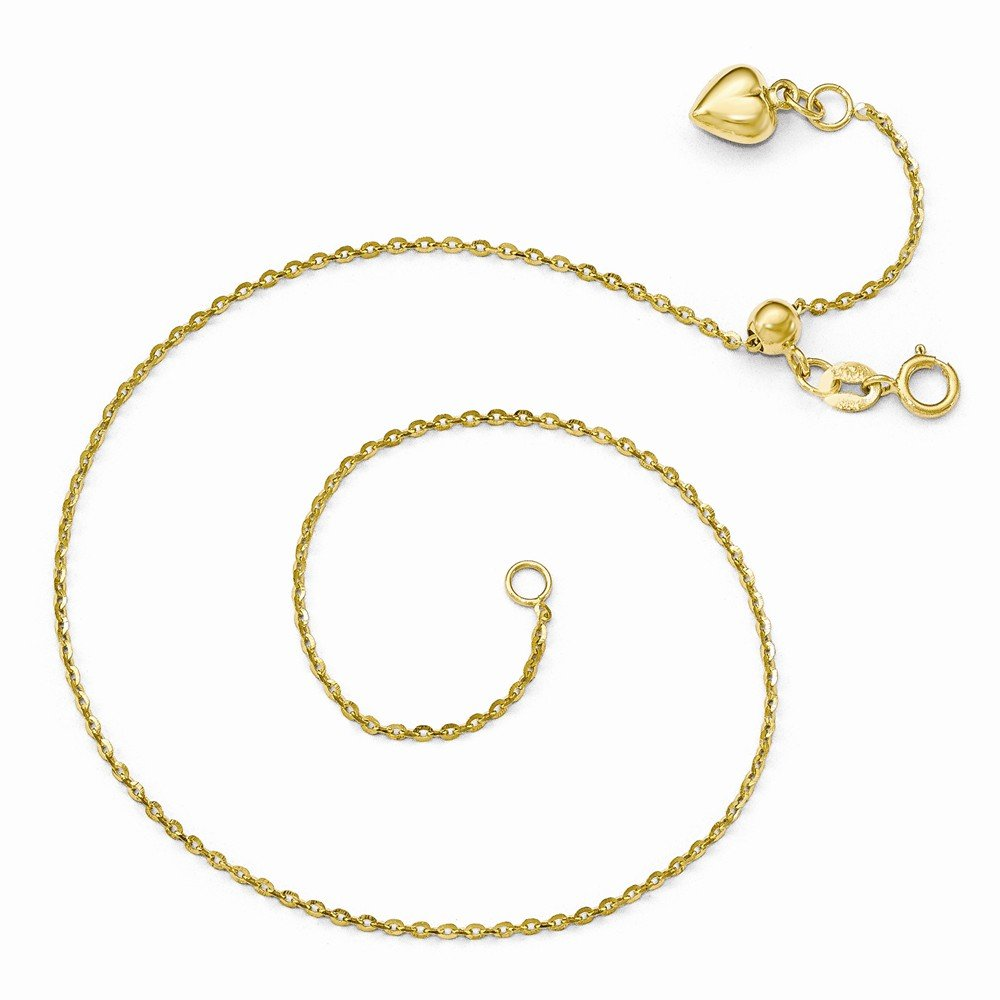 Leslie's 14k Yellow Gold Polished Dangle Heart Adjustable Anklet 11 Inches