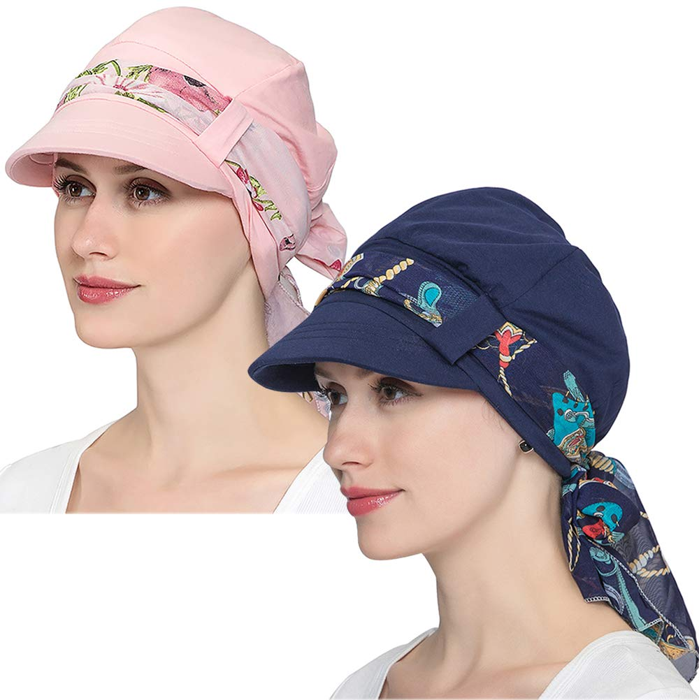 JarseHera Chemo Hats for Women Bamboo Cotton Lined Newsboy Caps with Scarf Double Loop Headwear for Cancer Hair Loss (Navy Blue+Light Pink, One Size Fit Most) by JarseHera